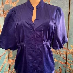 Worthington  Blue Satin Button Down Blouse